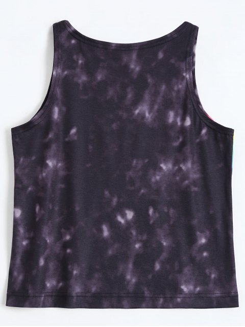 affordable Colorful Tie Dye Tank Top - BLACK S Mobile