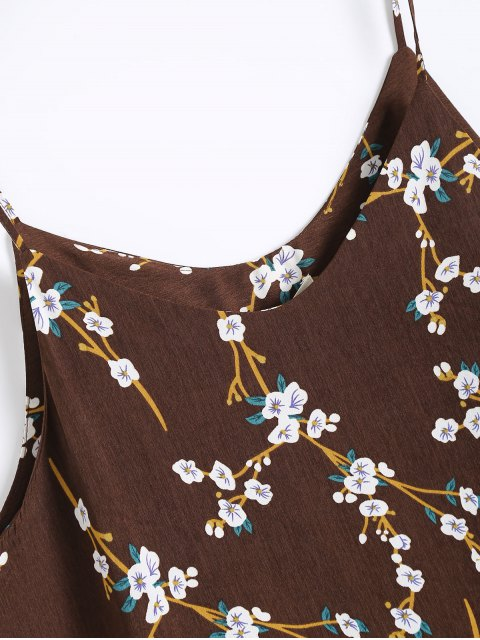 affordable Ruffle Hem Floral Slip Dress - COFFEE ONE SIZE Mobile
