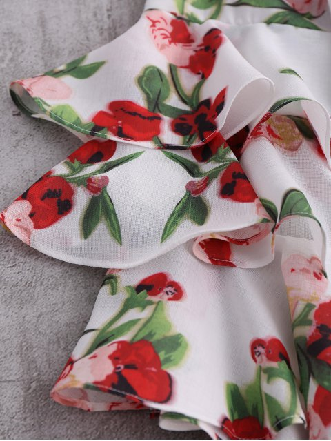 fashion Floral Ruffle Sleeve Blouse - COLORMIX XL Mobile