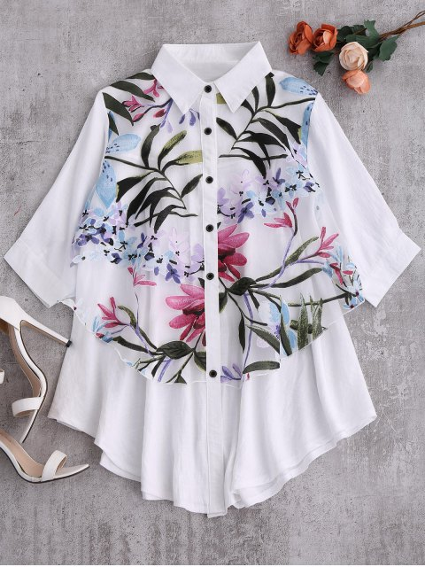 best Button Up Floral Trapeze Blouse - WHITE M Mobile