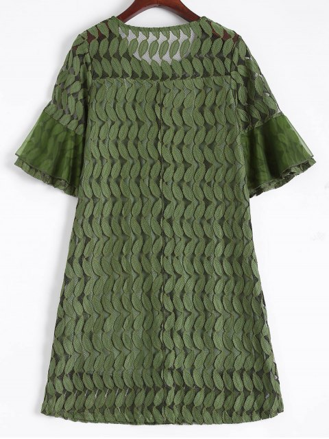 outfit Sheer Lace Flare Sleeve Dress - ARMY GREEN 2XL Mobile