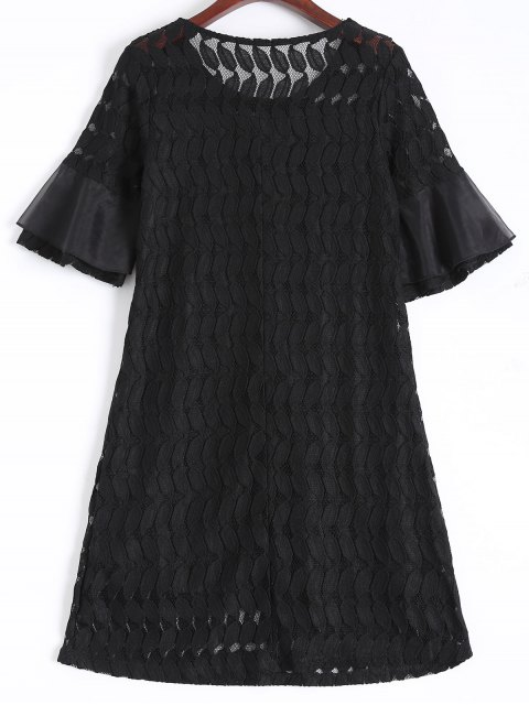 online Sheer Lace Flare Sleeve Dress - BLACK L Mobile