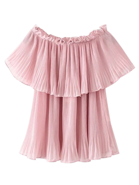 lady Pleated Layered Off The Shoulder Top - PINK L Mobile