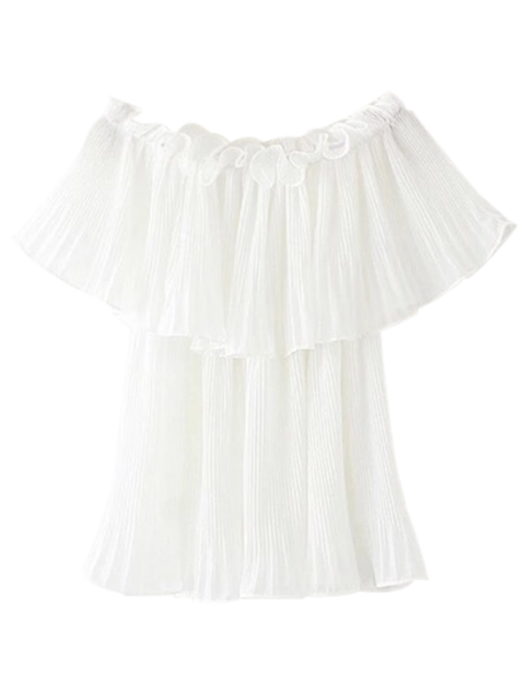new Pleated Layered Off The Shoulder Top - WHITE L Mobile