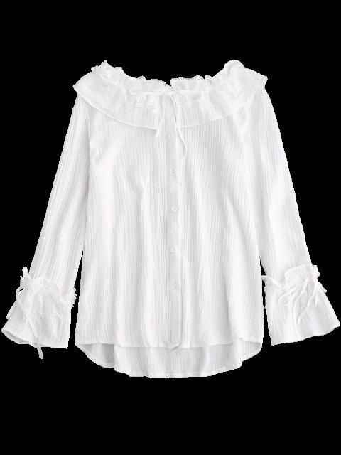 hot String Lace Ruffle Linen Shirt - WHITE S Mobile