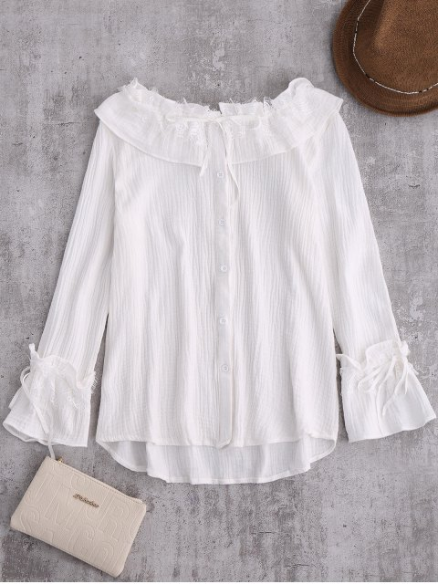 hot String Lace Ruffle Linen Shirt - WHITE S Mobile