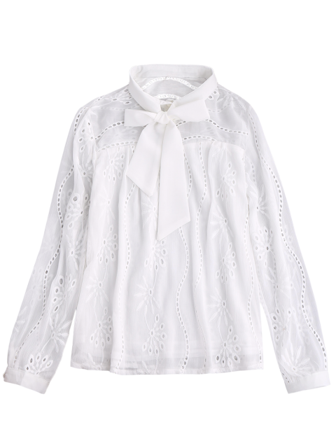 latest Pussy Bow Tie Hollow Out Chiffon Blouse - WHITE XL Mobile