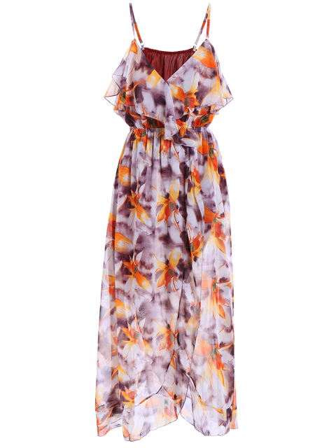 buy High Slit Ruffle Floral Holiday Dress - PURPLE S Mobile