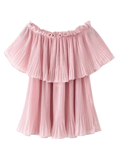 Pleated Layered Off The Shoulder Top - Pink