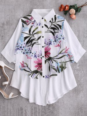 Button Up Floral Trapeze Blouse - White