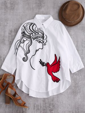 Embroidered Figure And Bird Batwing Shirt - White