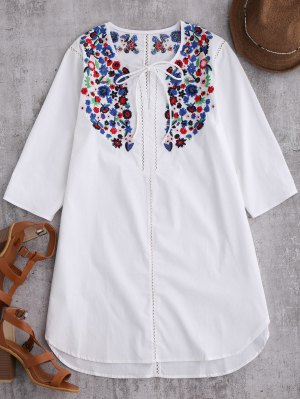 Emroidered Tie Front Tunic Dress - White