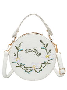 Flower Embroidered Canteen Crossbody Bag