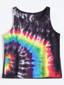 Colorful Tie Dye Tank Top - Black S