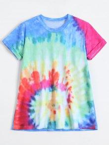 Rainbow Tie Dye Swirl Tee - Blue L