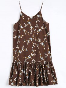 Ruffle Hem Floral Slip Dress - Coffee