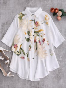 Layered Floral Oversized Blouse - White