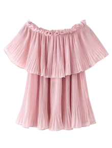 Pleated Layered Off The Shoulder Top - Pink L