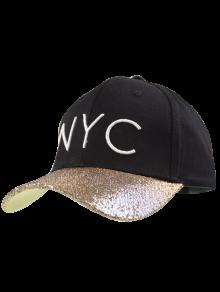 نيك التطريز مطرزة بريم قبعة بيسبول - أسود