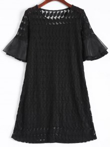 Sheer Lace Flare Sleeve Dress - Black
