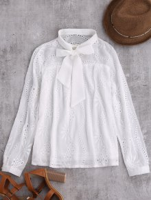 Pussy Bow Tie Hollow Out Chiffon Blouse - White