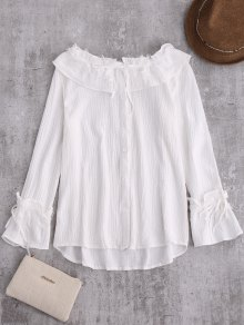 String Lace Ruffle Linen Shirt