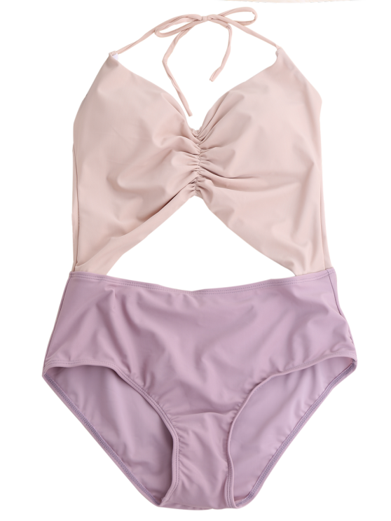 Backless Color Block Halter Shirred Swimsuit - LIGHT PURPLE L Mobile
