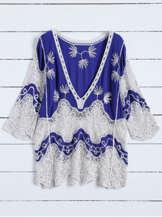 ladies Plunging Neck Crochet Panel Blouse - BLUE ONE SIZE