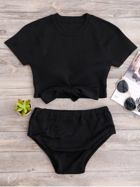Top de punto y Fondos de Cultivos del bikini - Negro Única Talla