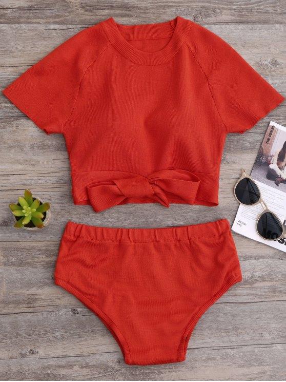 Tricoté Bikini Crop Top et Bottoms - Tangerine TAILLE MOYENNE