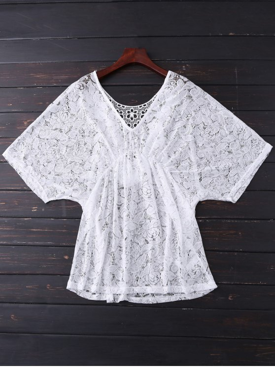 latest Batwing Lace Cover Up - WHITE ONE SIZE