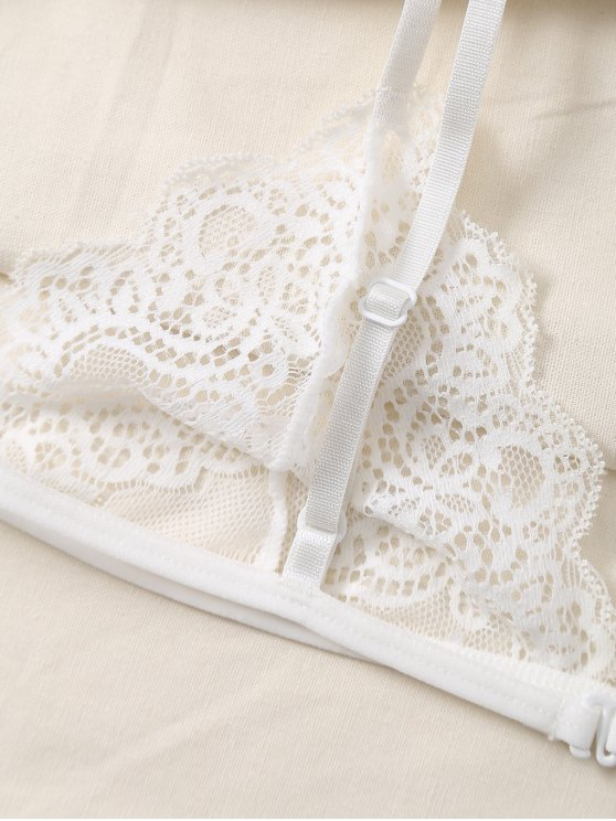 Plunge Scalloped Lace Bra - WHITE S Mobile
