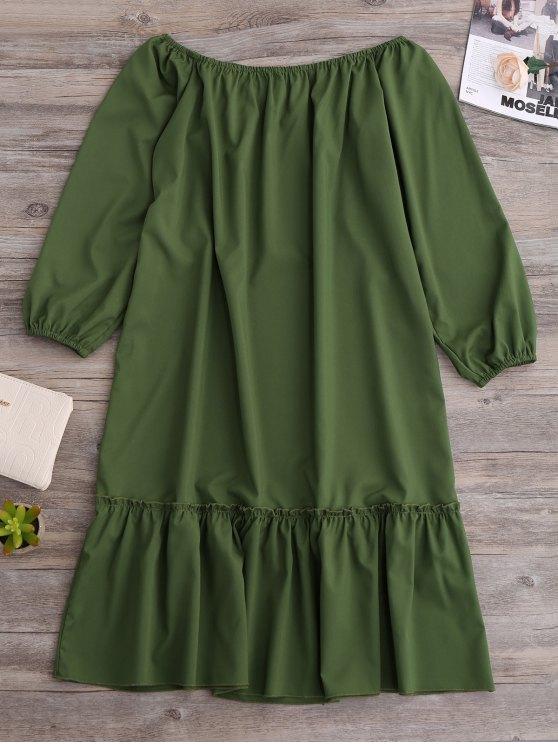 Flared Off The Shoulder Dress - GREEN L Mobile