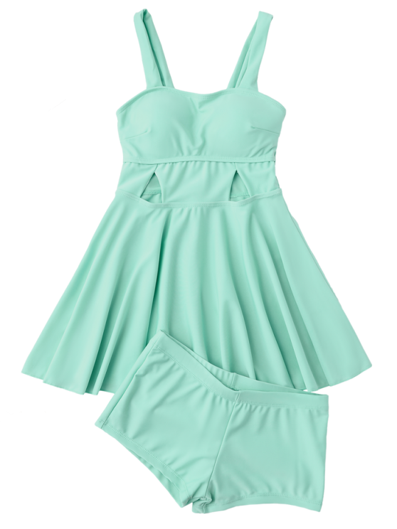 Cut Out Skirted Tankini Top and Shorts - BLUE GREEN M Mobile