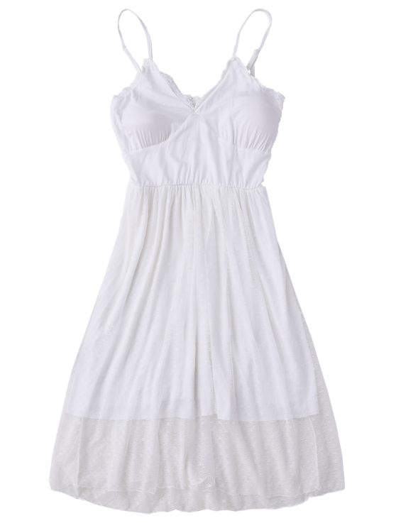 Padded Layered Mesh Babydoll - WHITE L Mobile