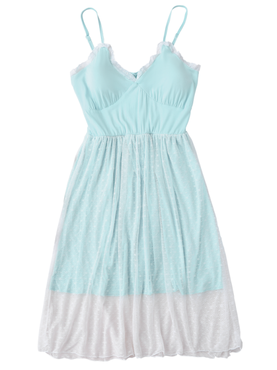 Padded Layered Mesh Babydoll - LIGHT BLUE M Mobile