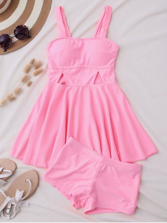 lady Cut Out Skirted Tankini Top and Shorts - PINK M
