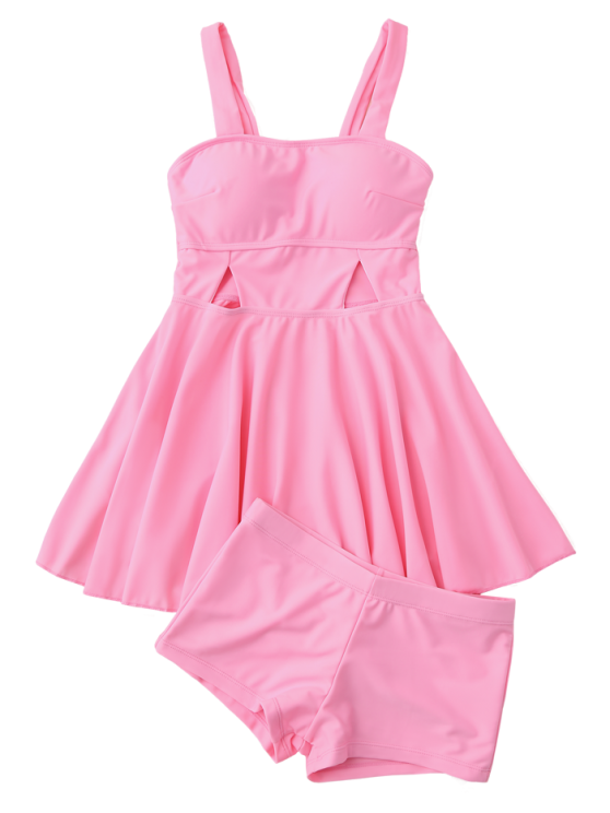 Cut Out Skirted Tankini Top and Shorts - PINK M Mobile