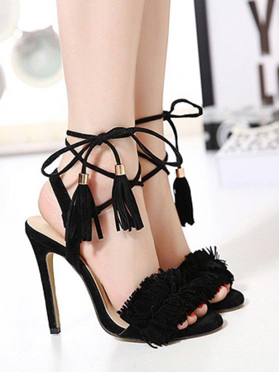 Fringe Lace-Up Stiletto Heel Sandals - BLACK 38 Mobile