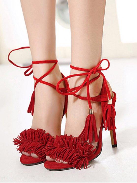 Fringe Lace-Up Stiletto Heel Sandals - RED 37 Mobile