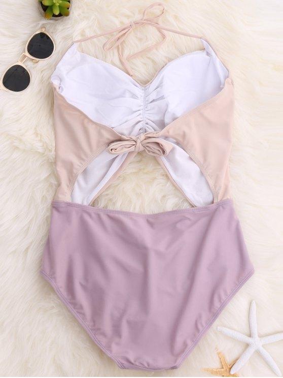 Backless Color Block Halter Shirred Swimsuit - LIGHT PURPLE M Mobile
