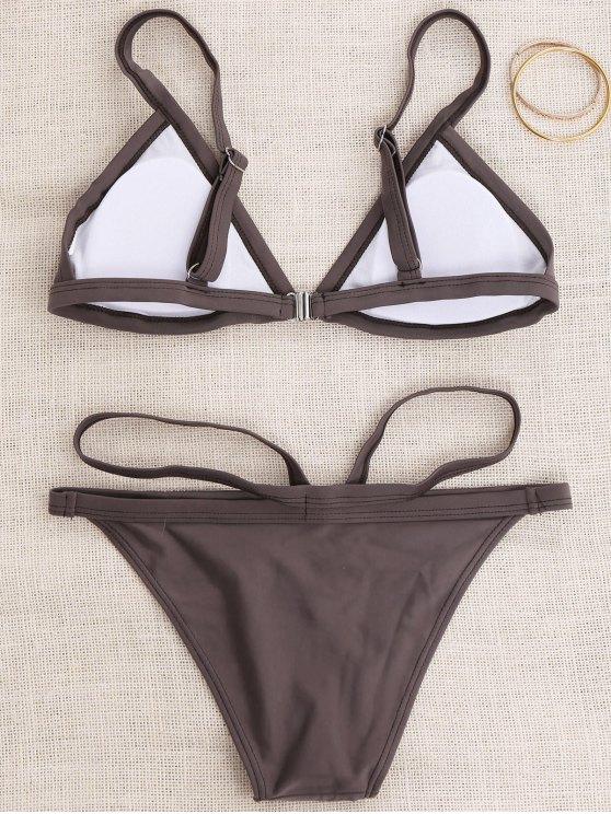 Padded V Strap Thong Bikini Set - COFFEE S Mobile