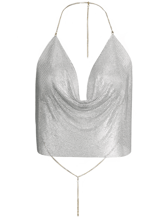 hot Draped Metal Crop Top For Party - SILVER S