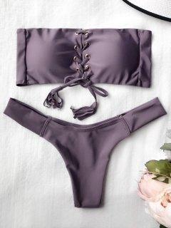 Lace Up Bandeau Bikini Set - Smashing S