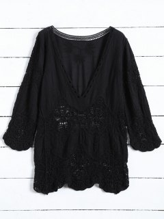 Plunging Neck Hollow Out Blouse - Black