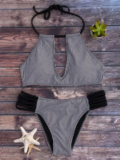 Stripe Keyhole Halter Bathing Suit - White And Black L