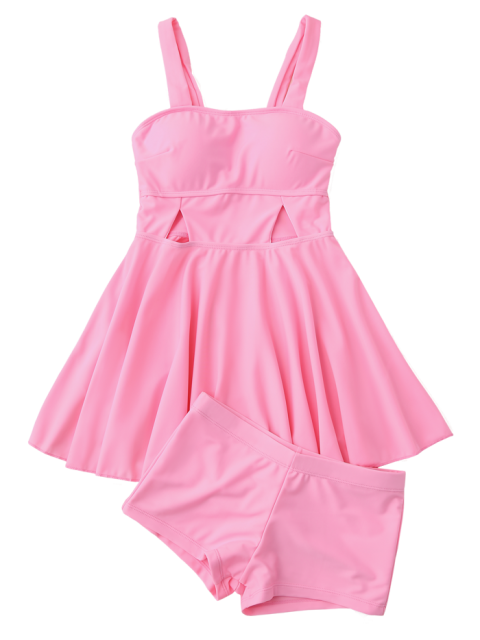 online Cut Out Skirted Tankini Top and Shorts - PINK XL Mobile