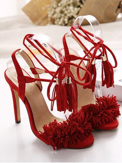 women Fringe Lace-Up Stiletto Heel Sandals - RED 40 Mobile