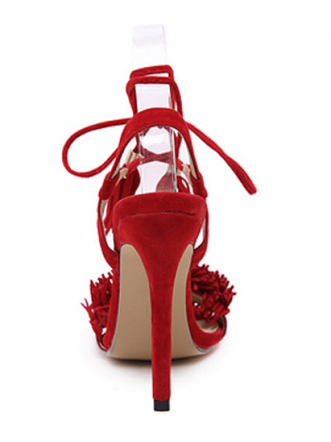 womens Fringe Lace-Up Stiletto Heel Sandals - RED 37 Mobile