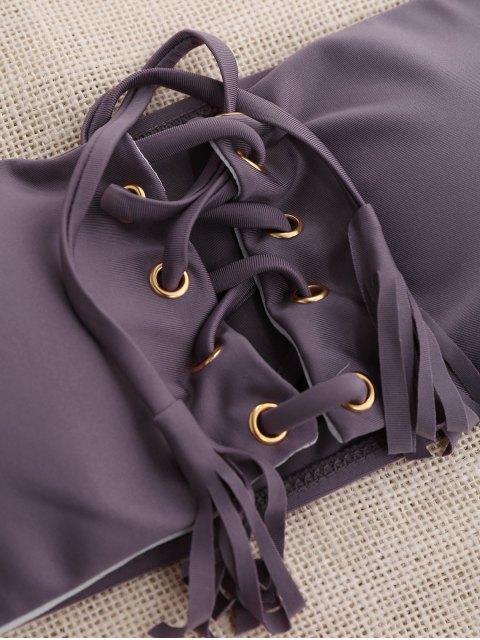 buy Lace Up Bandeau Bikini Set - SMASHING L Mobile